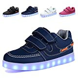 EQUICK Light Up Shoes Kids USB Charging Flashing LED Sneakers 11 Colors Modes Boys Girls,CLD02,05,26