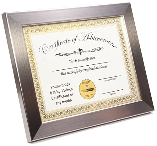 CreativePF [8.5x11bk] Certificate, Diploma, Graduation Frames to Hold 8.5 by 11-inch Documents w/ Stand and Wall Hanger (Stainless Steel, 8.5x11- No Mat, - Frames Steel Stainless
