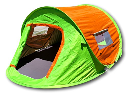 McWay Pop-Up Camping Tent - Instant Pop Up Tent - Waterproof 2-3 Person Tent Portable & Lightweight (Orange/Lime - Pop Up)
