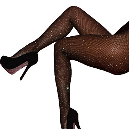 Women's Fishnet Stockings Sparkle Glitter Rhinestone Pantyhose Tights One Size (One Size, Black 02) -