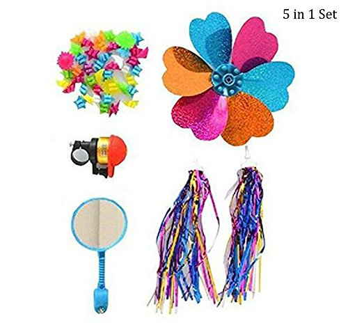 1Set 5PCS Bicycle Accessories Kid's Children Bike Scooter Bell Ring Mirror Flower Pinwheel Star Handlebar Streamers Colour Ribbons Grips Sparkle Tassel Stars Beads Decoration Bike Carrier Parts Access