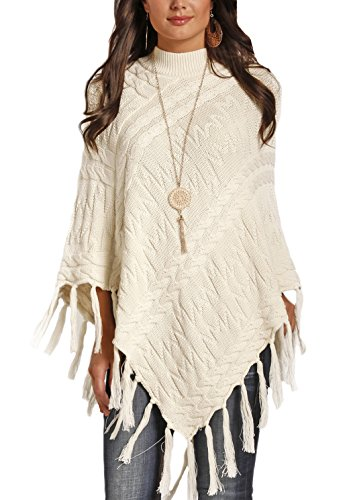 Powder River Outfitters 58-3939 Ivory Cable Knit Fringe P...