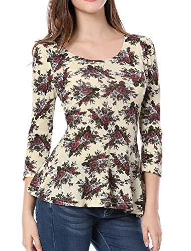 Girls Puff Sleeve Top (Allegra K Ladies Cute Flower Pattern Pleated Trim Slim Top Blouse M Beige)