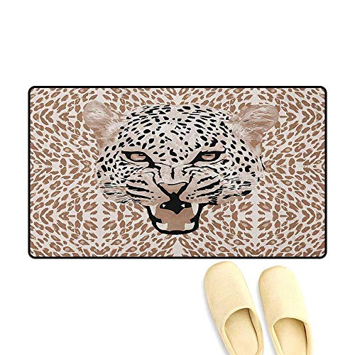 - zojihouse Modern Bath Mat for tub Bathroom Roaring Leopard Portrait with Rosettes Wild African Animal Big Cat Graphic Size:24