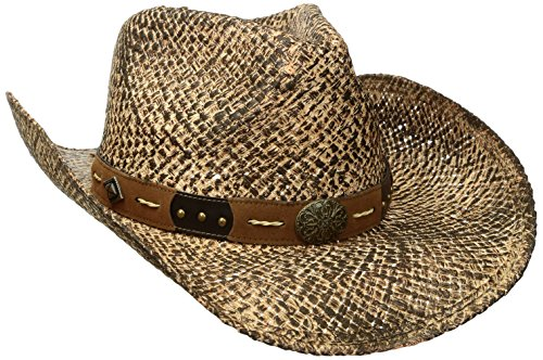 - Henschel Men's Hand Stained Raffia Straw Hat with Leather Band/Conchos & Studs, Raffia, Large