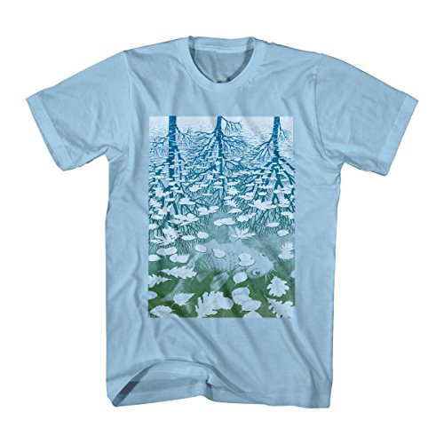 M.C. Escher Men's M.C. Escher Fish Pond  Graphic T-Shirt, Light Blue, Small