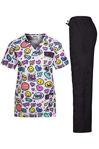 MedPro Women's Medical Scrub Set with Printed V-Neck Wrap Top and Cargo Pants,White -