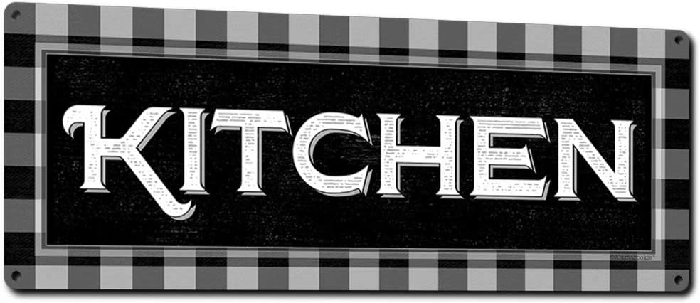 Kitchen, Buffalo Plaid 6 x 16 Inch Metal Sign, Black and White Vintage Farmhouse Style, Rustic Wall Decor for Home Kitchen, Dining, Mud Room, and Restaurants, Bakery, Coffee Shops RK3174 6x16