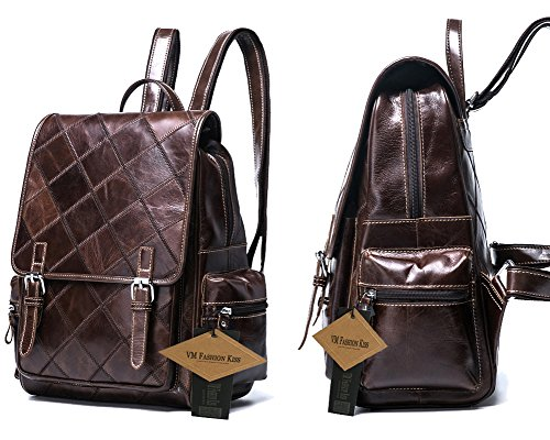 VM FASHION KISS Zipper&hasp Casual Crazy Horse Genuine Leather Backpack vintage Bag by VM FASHION KISS (Image #2)