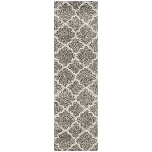 Safavieh Hudson Shag Collection SGH282B Grey and Ivory Runner, 2'3'' x 16' by Safavieh