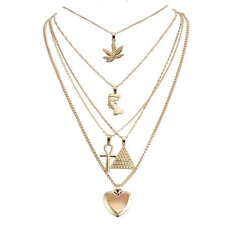 Cngstar - Juego de collar con colgante de faraón egipcio antiguo, diseño de cruz de hojas, estilo punk, color dorado: Amazon.es: Juguetes y juegos