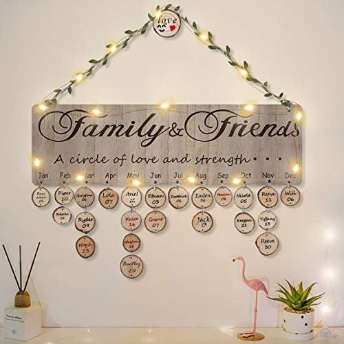 ElekFX Family Birthday Calendar Wooden Board DIY Celebrations and Birthday Reminder Wall Hanging Plaque with LED Light for Home Decor