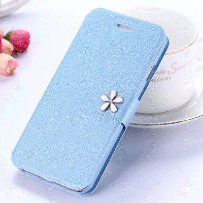 Funda de cuero para la caja de la cubierta del tirón OPPO A37M Teléfono Ultra Thin titular de la tarjeta flor azul