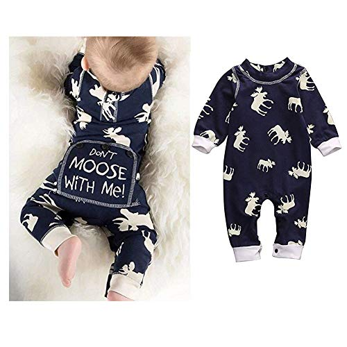 Newborn Baby Girls Boys Don't Moose with Me Letter Print Romper Jumpsuits One-Piece Outfits,Navy (6-12 Months, ()
