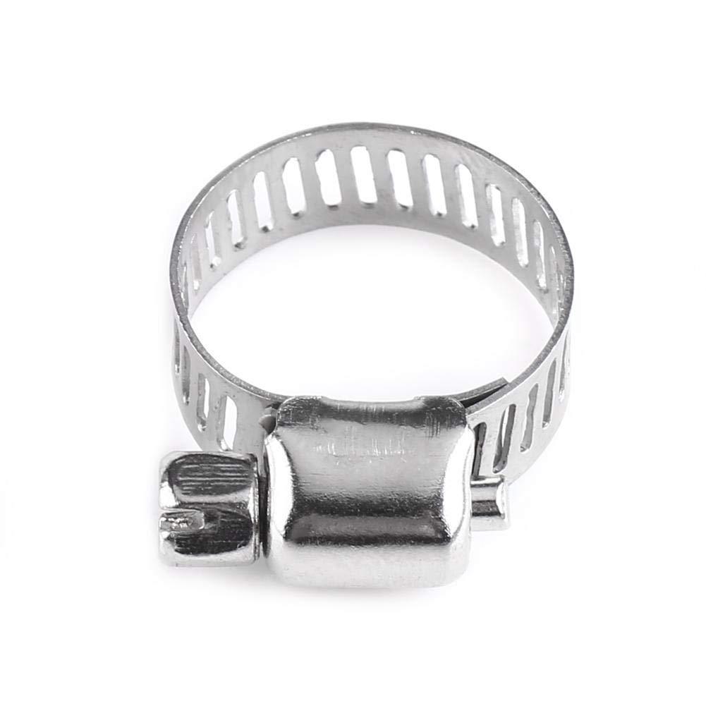 10pcs Collier de Serrage Tuyau Serre-joints Clip de Tuyau Gamme Réglable en Acier Inoxydable Conduite de Carburant Tuyau Clip Engrenage à Vis sans Fin 8-25mm (16-25) Hilitand