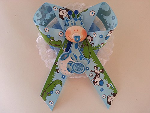 Baby Shower Mom To Be It's a Boy Sash Blue Giraffe Safari Ribbon Corsage Noah's by PRODUCT 789 (Image #3)