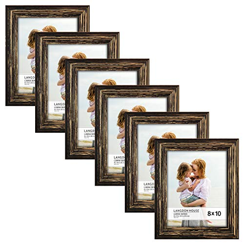 Langdons 8x10 Real Wood Picture Frames (6 Pack, Barnwood Brown - Gold Accents), Brown Wooden Photo Frame 8 x 10, Wall Mount or Table Top, Set Of 6 Lumina Collection (Wooden Photo Frames)