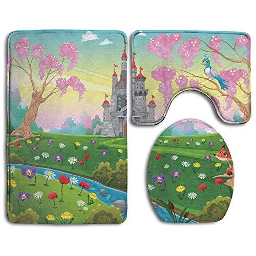 Fairy Tale Castle Scenery in Floral Garden Princess Kids Girls Fantasy Bathroom Rug 3 Piece Bath Mat Set Contour Rug and Lid ()