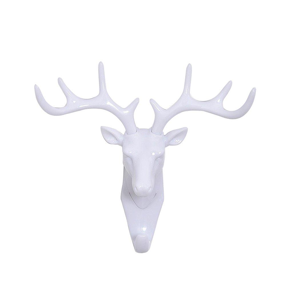 Peyan Deer Head Single Wall Hook/Hanger Animal Shaped Coat Hat Hook Heavy Duty Rustic, Decorative Gift Black