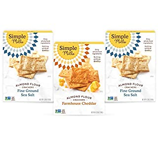 Simple Mills, Snacks Variety Pack, Fine Ground Sea Salt, Farmhouse Cheddar Variety Pack, 3 Count (Packaging May Vary)