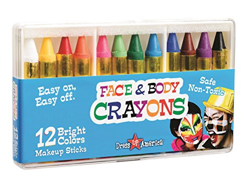 Dress Up America 12 Color Face Paint Safe & Non-Toxic Face and Body Crayons - Halloween Makeup - Made in Taiwan