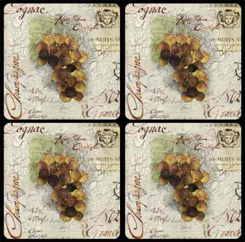 - Grapes by Louise Montillio - Fruit Wine Tumbled Marble Accent Tile Set 4
