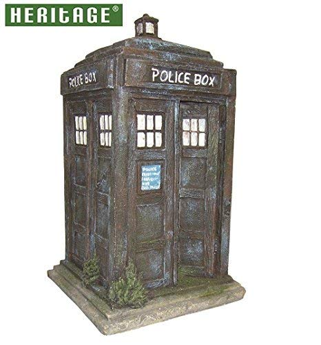 HERITAGE BM151s AQUARIUM FISH TANK BLUE POLICE BOX ORNAMENT HANDPAINTED DECORATION 17.5CM HIDE Heritage Pet Products