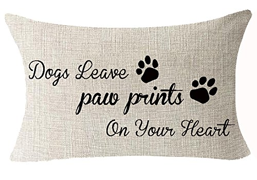 Best Dog Lover Gifts Nordic Warm Sweet Funny Sayings Dogs Leave Paw Prints On Your Heart Cotton Linen Throw Lumbar Waist Pillow Case Cushion Cover Home Office Decorative Rectangle 12X20 Inches