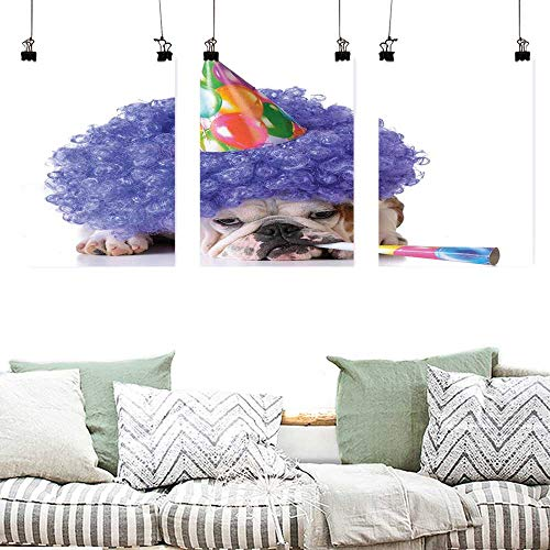 Canvas Prints Wall Decor Art Kids Birthday Boxer Dog Animal with Purple Wig with Colorful Party Cone Funny Photo Print Office Art Decoration 3 Panels 24x47inchx3pcs -