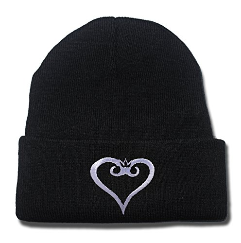 Heart Machine Embroidery (ZZZB Kingdom Hearts Logo Beanie Fashion Unisex Embroidery Beanies Skullies Knitted Hats Skull)