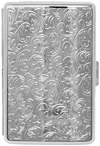 Silver Vintage Victorian Print Compact (16 100s) Metal-Plated Cigarette Case & Stash (Stainless Steel Cigarette Case)