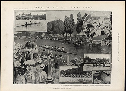 Regatta Henley (Henley Regatta Pennsylvania University Final Match 1901 antique historic print)