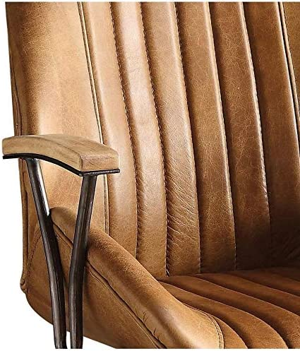 Q-Max SH1653 Top Grain Leather Swivel Executive Office Chair Coffee
