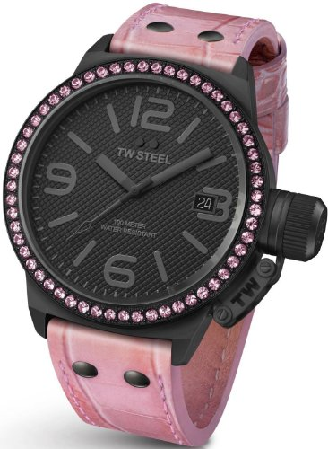 - TW Steel Canteen 45mm Black Dial Crystal-set Bezel Pink Leather Ladies Watch TW911