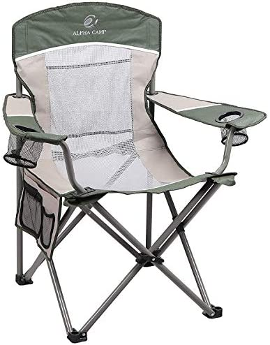 ALPHA CAMP Oversized Mesh Back Camping Folding Chair Heavy Duty Support 350 LBS Collapsible Steel Frame Quad Chair Padded Arm Chair with Cup Holder Portable for Outdoor