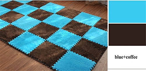 (Carpet Interlocking Floor Tiles - Plush Carpet Area Rug - Puzzle Floor Mat - Interlocking Carpet Tiles, Thick, Non Toxic, Anti-Fatigue, Fluffy,Premium Foam Mat)