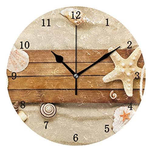 ZZKKO Ocean Beach Theme Wall Clock, Silent Non Ticking Battery Operated Easy to Read Decorative Wall Clock for Kitchen Bedroom Bathroom Living Room Classroom ()