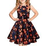Idgreatim Girls Halloween Sleeveless Pumpkin Vintage Print Swing Party Dresses with Belt for Halloween 6-12 Years