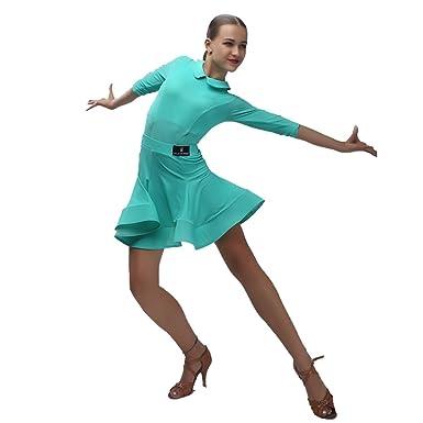 4f5e555bd YILINFEIER Children Elastic Fabric Short Sleeves Ballroom Latin Dance  Dresses Waltz Standard Dance Dress for Girls