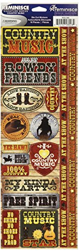 Reminisce Signature Series Cardstock Combo Stickers, 4.25 by 12-Inch, Country Music