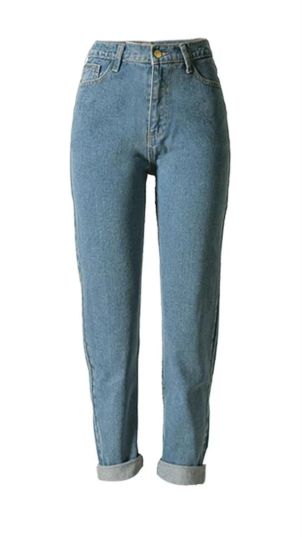 Betusline women Fashion Loose High Waist Straight Jeans Denim Pants Boyfriend