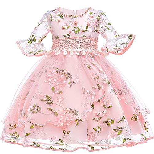 Flower Girl Dress for First Communion Tulle Wedding Princess Costume for Party Dress,Pink,4T -