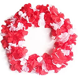 LITTLE FEATHER 6pcs Red and White Mega flower Leis Tropical Hawaiian Luau Flower Necklace Party Favors