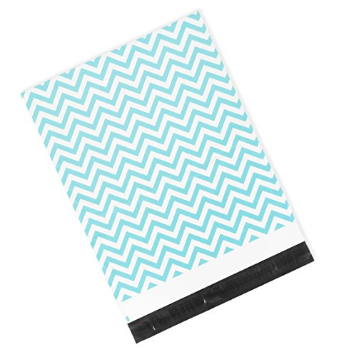 Poly Mailers 10x13 or 14.5x19 Size Options - Blue Chevron Pattern Print - Premium Shipping Envelopes by Inspired Mailers