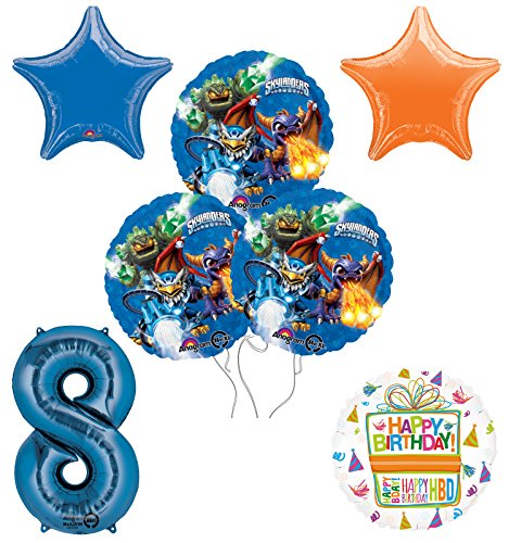 Skylanders 8th Birthday Party Supplies and Balloon Decoration Bouquet Kit -