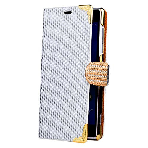 Sony Xperia Z2 | iCues Rhinestone del diamante Negro | [Protector de pantalla, incluyendo] Strass Glitter lujo de Bling señoras de las mujeres niñas Chromebook con bisagras bolsillo del teléfono celul Plata