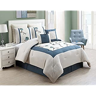 VCNY 8 Piece Trousdale Embroidered Comforter Set, King,