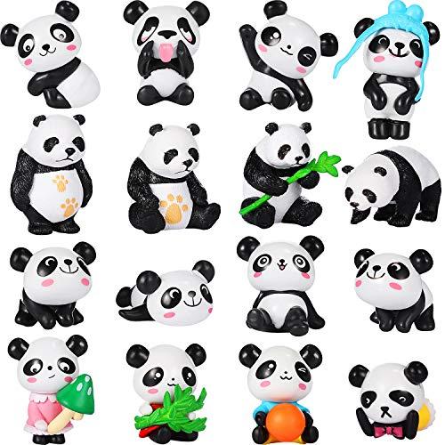 (16 Pack Cute Pandas Animal Mini Figurines Playset Mini Panda Cake Toppers Panda Decoration Craft for Kid Party Favors Fun Office Home Decor)