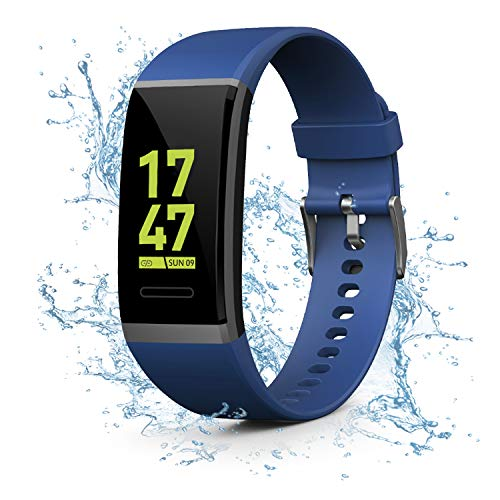 Kirlor Fitness Tracker, Waterproof Color Screen Smart Bracelet with Heart Rate Blood Pressure Monitor,Smart Watch Pedometer Activity Tracker Bluetooth for Android iOS