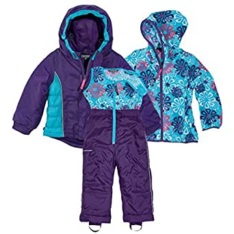 Amazon.com: Purple and Blue Girls 3 Piece Winter Snow Suit